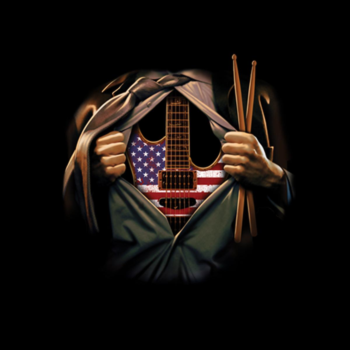 Musikseele Gitarre Trommelstöcke Damen T-shirt S-3XL Neu