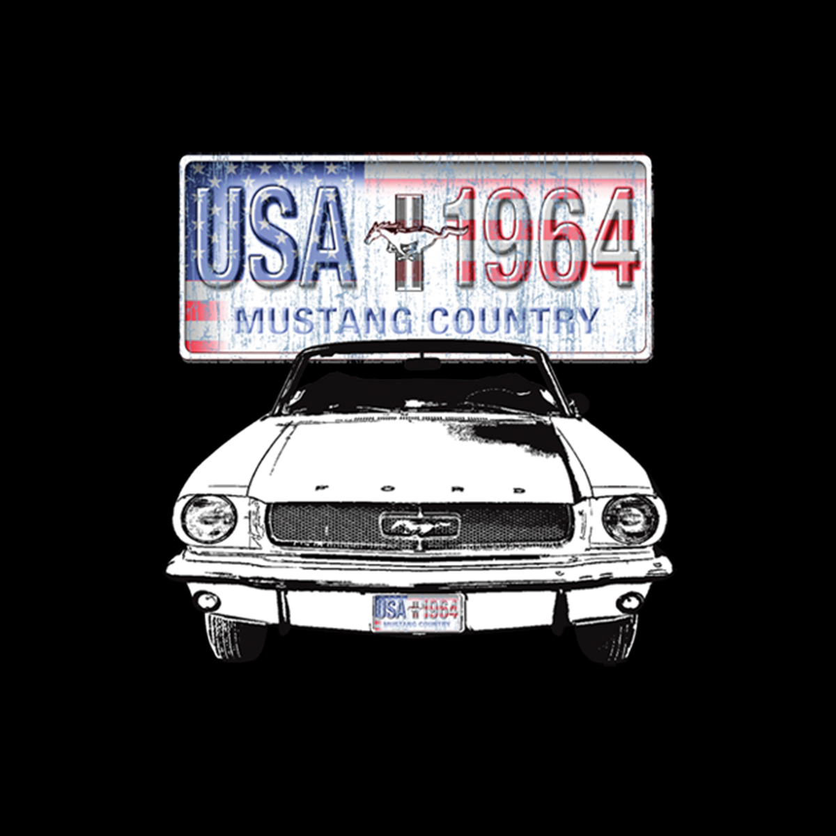 Ford Mustang Country Uomo Felpa S-3XL Nuovo