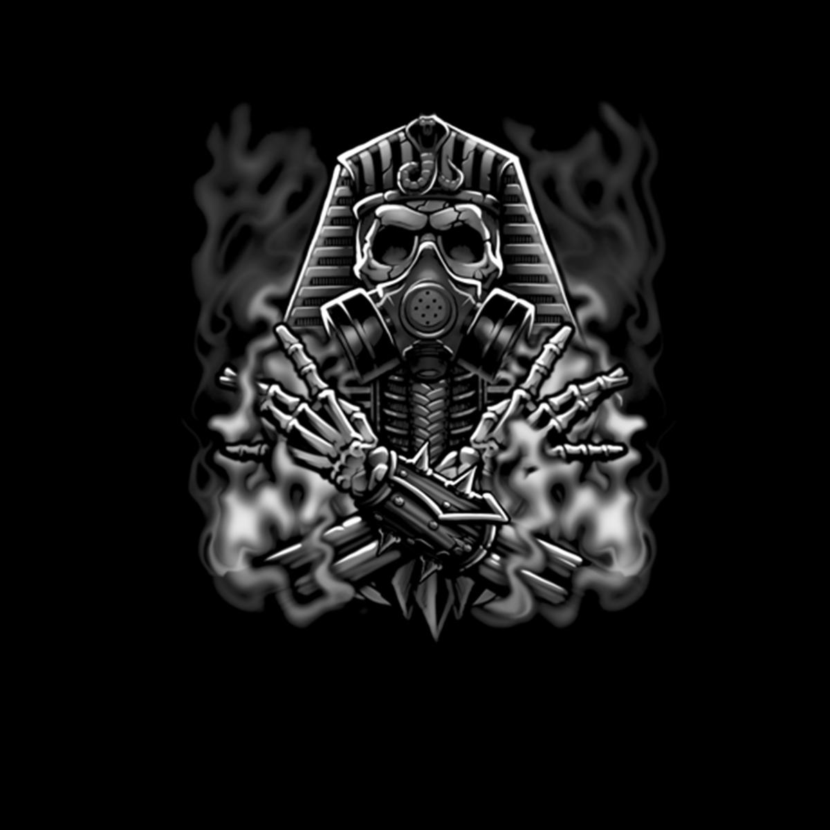 Pharaon égyptien Masque Gaz Fumée T-Shirt Hommes XS-5XL