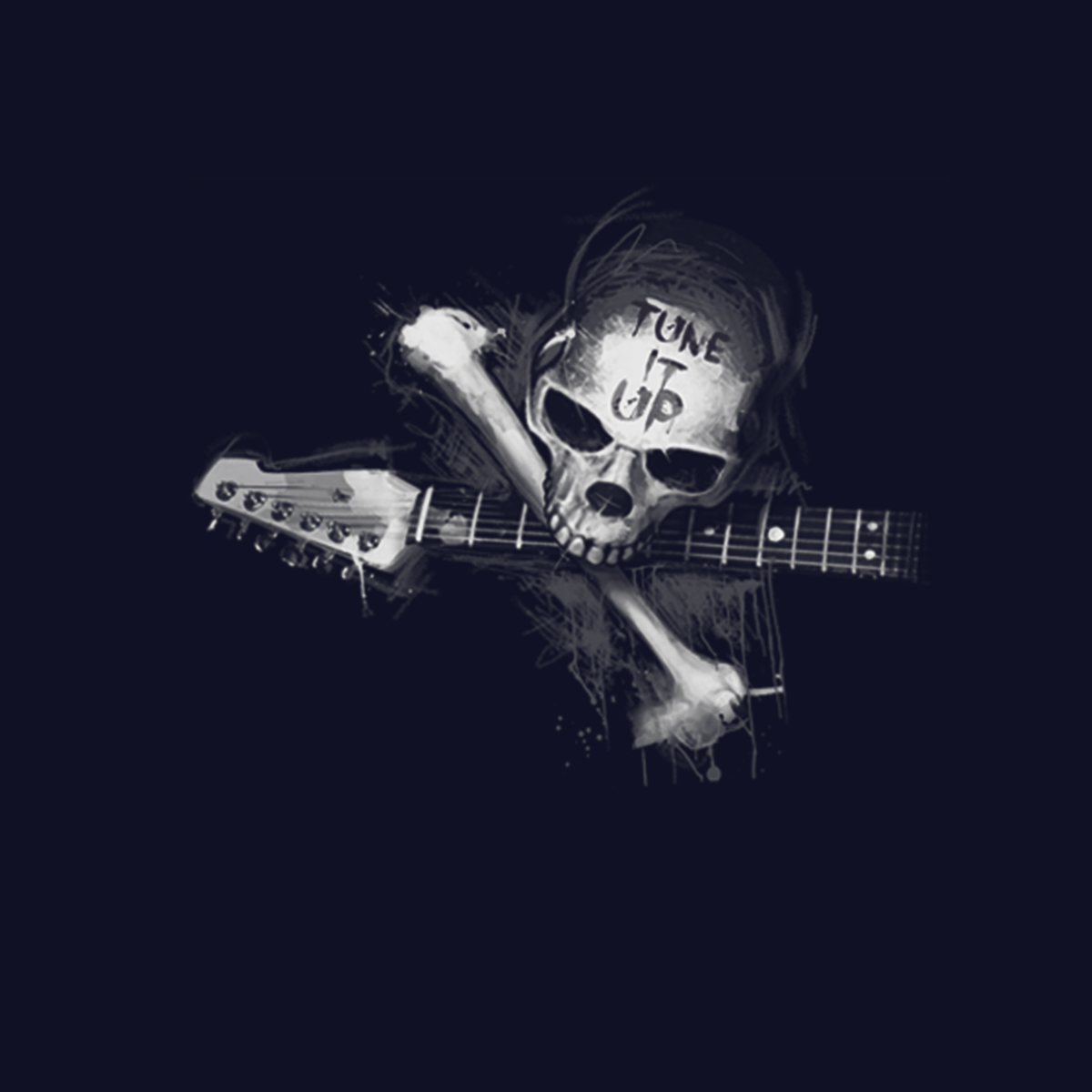 Skull Guitar Rock Music Womens T-shirt XS-3XL