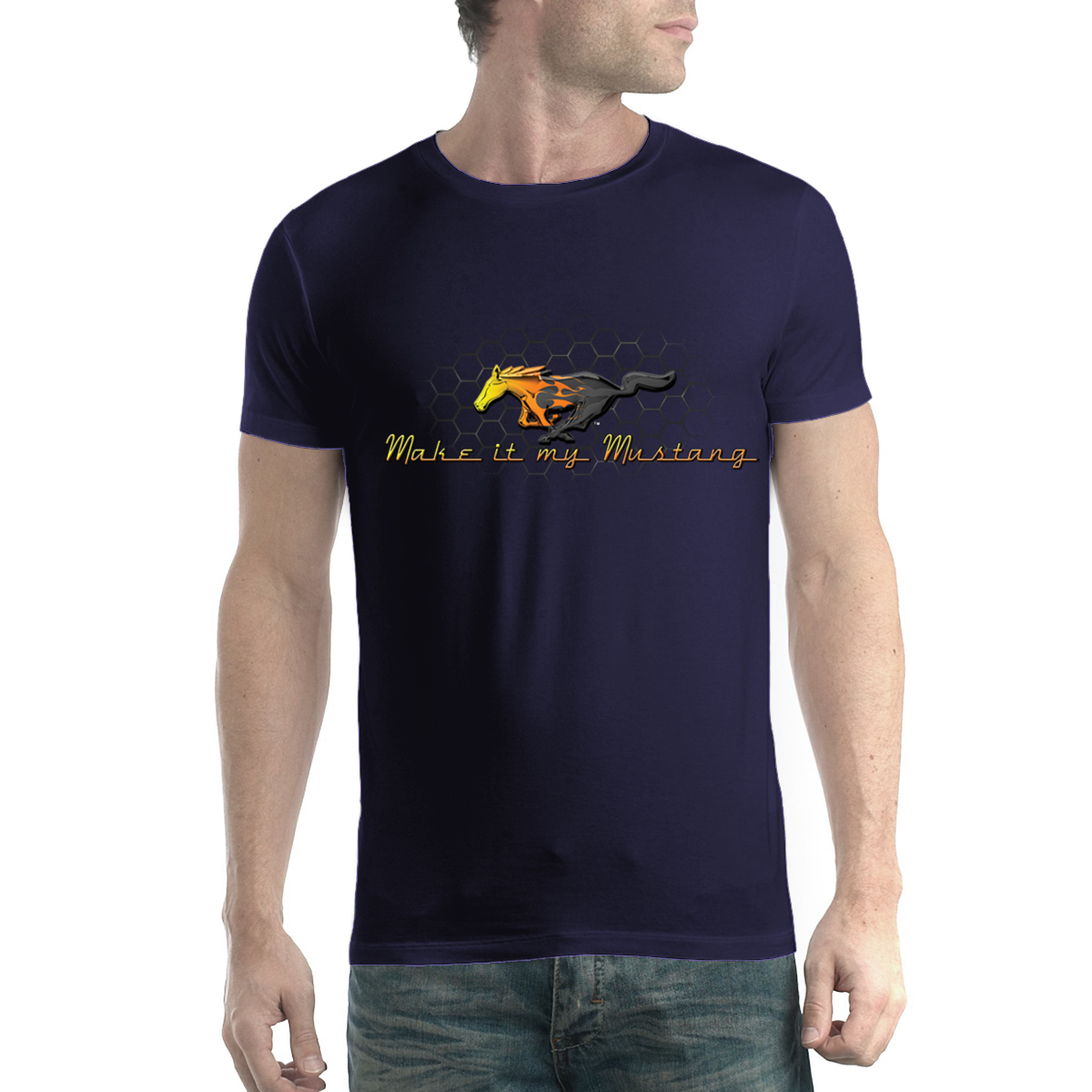Ford-Mustang-Grille-Gold-Logo-Men-T-shirt-XS-5XL