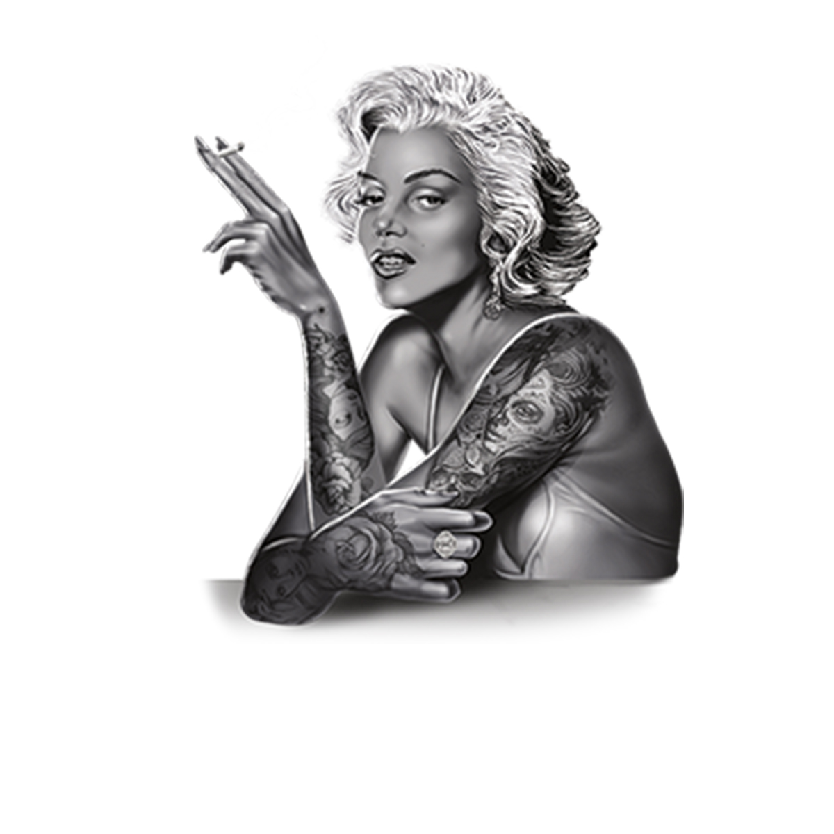 Marilyn-Monroe-Smoking-Tattoo-Men-T-shirt-XS-5XL thumbnail 6