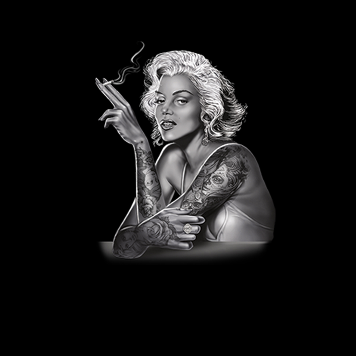 Marilyn-Monroe-Smoking-Tattoo-Men-T-shirt-XS-5XL thumbnail 3