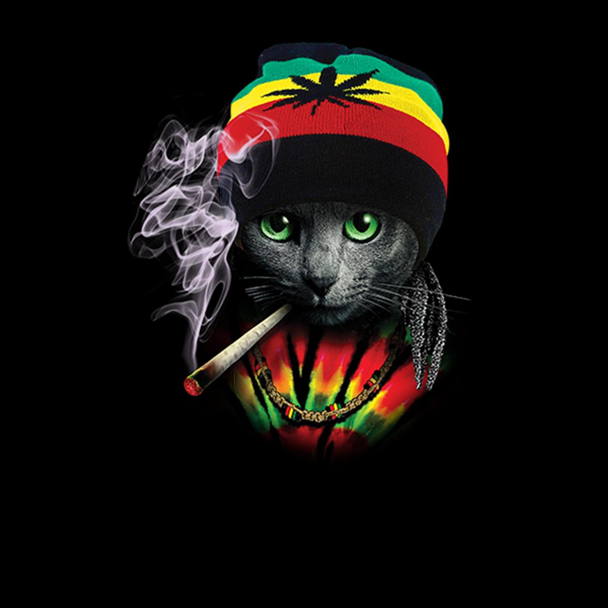 Rasta-Gato-Rastas-Marijuana-Mujer-Camiseta-XS-3XL