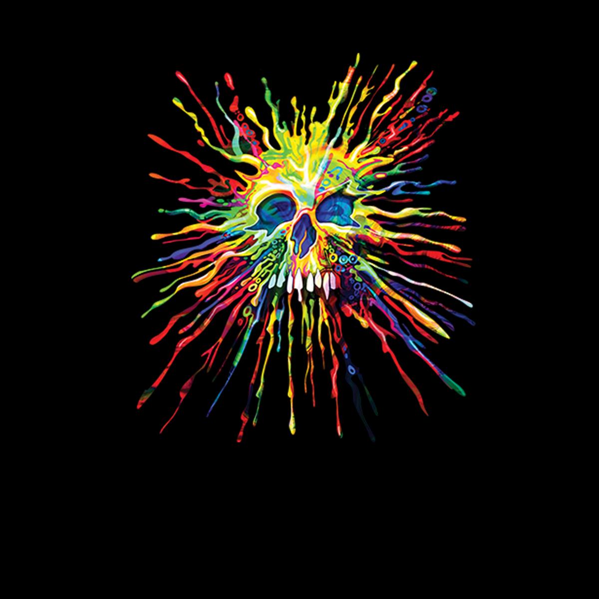 Teschio-Dipinto-Schizzare-Arcobaleno-Uomo-T-shirt-XS-5XL