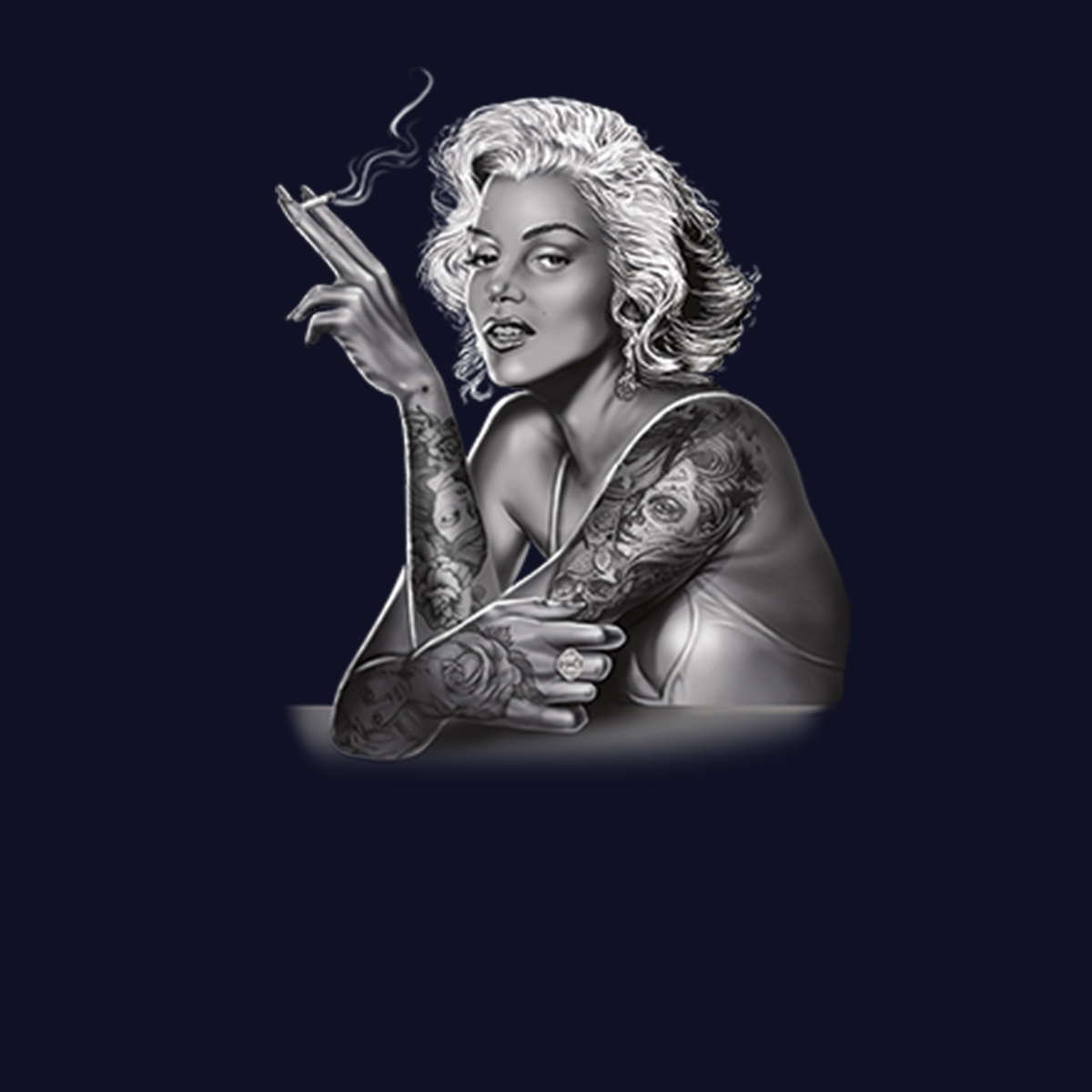 Marilyn-Monroe-Smoking-Tattoo-Men-T-shirt-XS-5XL thumbnail 9