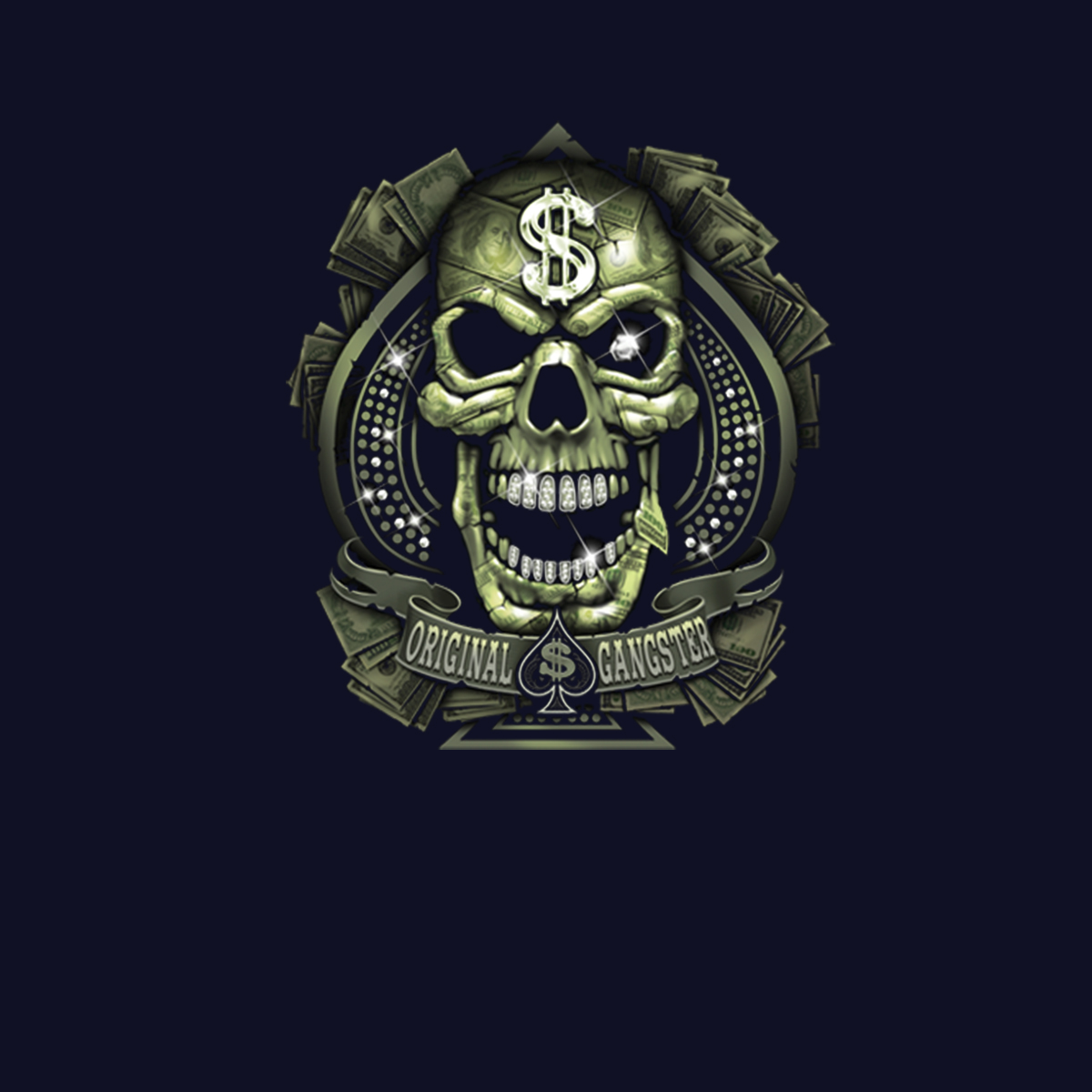 Diamond Skull Gangster Money Men T-shirt XS-5XL New