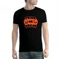 Trick or Treat Halloween Pumpkin Bats Mens T-shirt XS-5XL