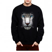 White Tiger Face Blue Eyes Animals Men Sweatshirt S-3XL New
