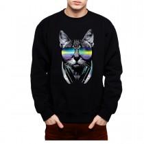 DJ Cat Headphones Mens Sweatshirt S-3XL