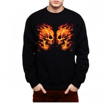 Flaming Skulls Mens Sweatshirt S-3XL