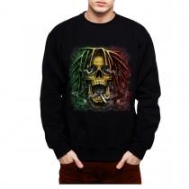 Rasta Skull Dreadlocks Smoke Mens Sweatshirt S-3XL