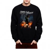 Halloween Witch Cat Pumpkin Mens Sweatshirt S-3XL
