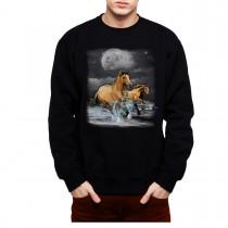 Brown Horses Ocean Moon Mens Sweatshirt S-3XL