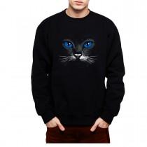 Blue Eyes Black Cat Animals Mens Sweatshirt S-3XL