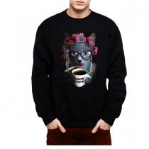 Cat Lady Coffee Smoking Mens Sweatshirt S-3XL