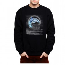Dolphin Jumps Out Full Moon Mens Sweatshirt S-3XL