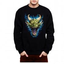 Green Dragon Face Flames Men Sweatshirt S-3XL