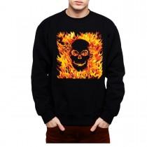 Fire Skull Hell Flames Mens Sweatshirt S-3XL
