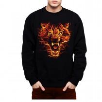 Flaming Wolf Scary Men Sweatshirt S-3XL