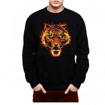 Tiger Fire Flames Mens Sweatshirt S-3XL