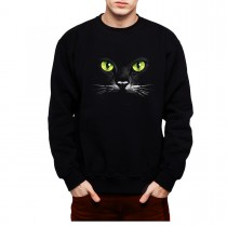 Black Cat Green Eyes Mens Sweatshirt S-3XL
