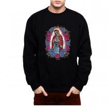 Dead Virgin Mary Roses Cross Mens Sweatshirt S-3XL