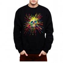 Painted Skull Splatter Rainbow Mens Sweatshirt S-3XL