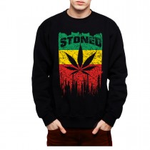Rasta Flag Stoned Leaf Men Sweatshirt S-3XL