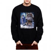 Wolves Winter Moon Mens Sweatshirt S-3XL