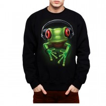 Frog Rock Headphones Music Men Sweatshirt S-3XL New