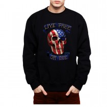 Skull America Live Free Die Men Sweatshirt S-3XL New