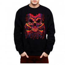Melting Skull Crossbones Men Sweatshirt S-3XL New