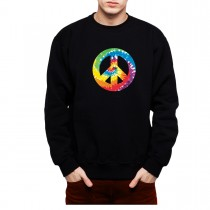 Peace And Love Sign Men Sweatshirt S-3XL New