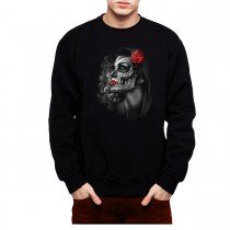 Rose Girl Skull Men Sweatshirt S-3XL New