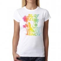 Surf Summer Time Holiday Women T-shirt XS-3XL New