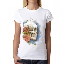 Skull Colourful Rose Women T-shirt M-3XL