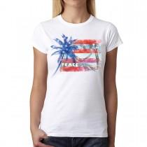 Peace Palm America Flag USA Women T-shirt XS-3XL New