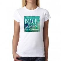 Beach Please Sign Summer Women T-shirt XS-3XL New