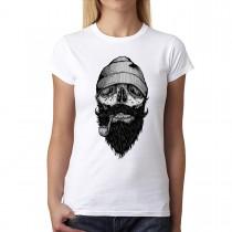 Sailor Skull Beard Tobacco Pipe Womens T-shirt XS-3XL
