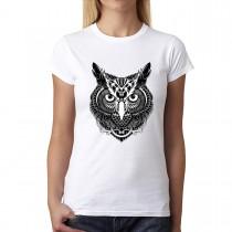 Owl Bird Feathers Womens T-shirt XS-3XL