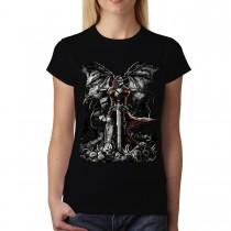 Skull Sword Grave Reaper Women T-shirt M-3XL New
