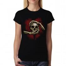 Skull Hands Cross Women T-shirt S-3XL New
