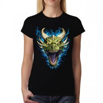 Green Dragon Face Flames Women T-shirt XS-3XL New