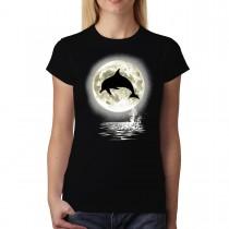 Dolphin Jump Moon Women T-shirt XS-3XL New
