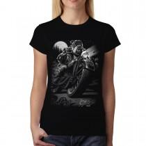 Dog Motorcycle Bike Moon Womens T-shirt M-3XL New