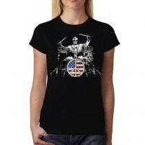 Rock Drums Peace Women T-shirt S-3XL New