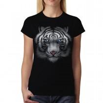 White Tiger Animals Blue Eyes Women T-shirt M-3XL New