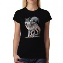 Wolf Full Moon Women T-shirt XS-3XL New