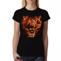 Flaming Wolf Scary Women T-shirt M-3XL New